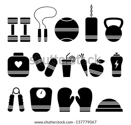 Illustration of 14 fitness icons - stock vector