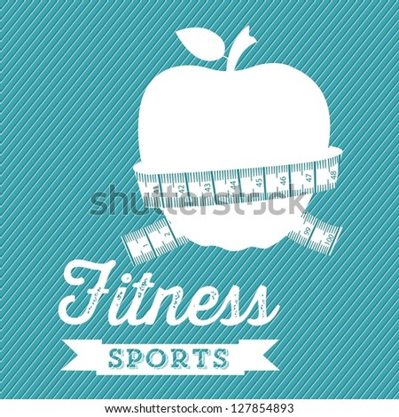Illustration of Fitness Icons, sports and exercise, caring figure and health, vector illustration - stock vector