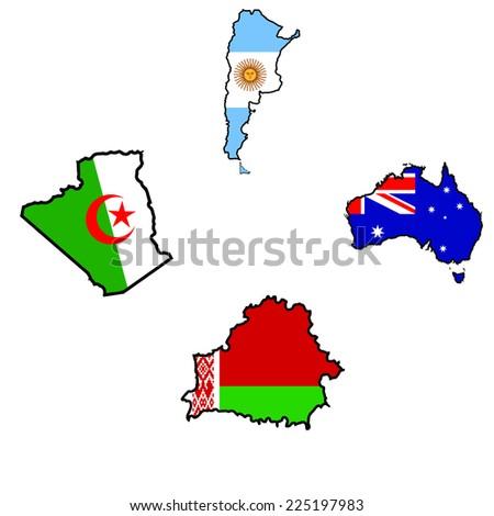Illustration of flag in map of Algeria,Argentina,Australia,Belarus  - stock vector