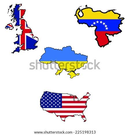 Illustration of flag in map of UK,Ukraine,United States,Venezuela  - stock vector