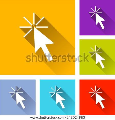 illustration of flat design set icons for cursor - stock vector