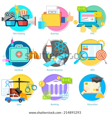 illustration of flat style pictogram for user interface - stock vector