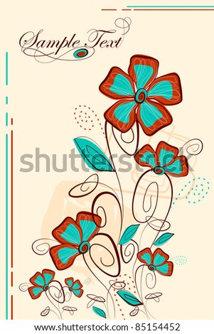 illustration of floral background in retro background - stock vector