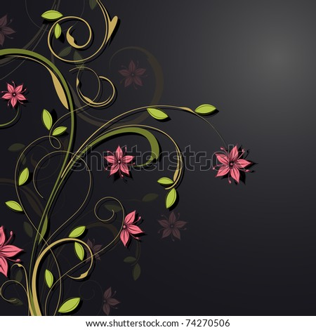 illustration of floral pattern on abstract background - stock vector
