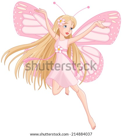 Illustration of flying beautiful fairy  - stock vector