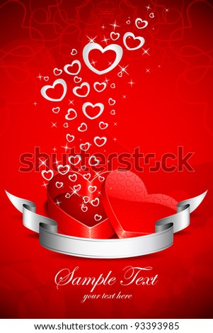 illustration of flying heart coming out of gift box in love background - stock vector