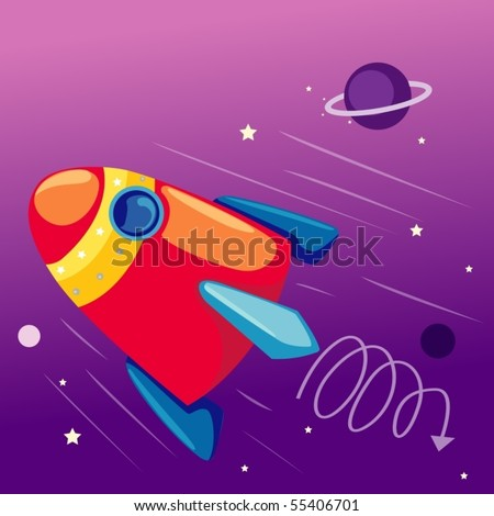 illustration of flying rocketship in the sky with stars - stock vector