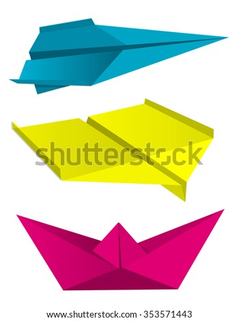 Illustration of folded colorful paper models isolated on white background, Concept for presenting of color printing. Vector available. - stock vector