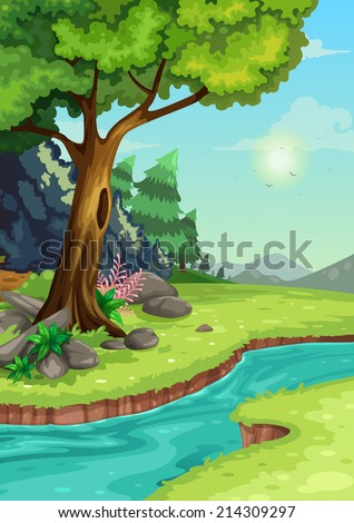 illustration of forest with a river background vector - stock vector