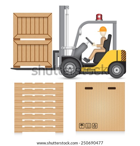 Illustration of forklift and industry object isolated on white. - stock vector