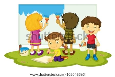 Illustration of four children painting - stock vector
