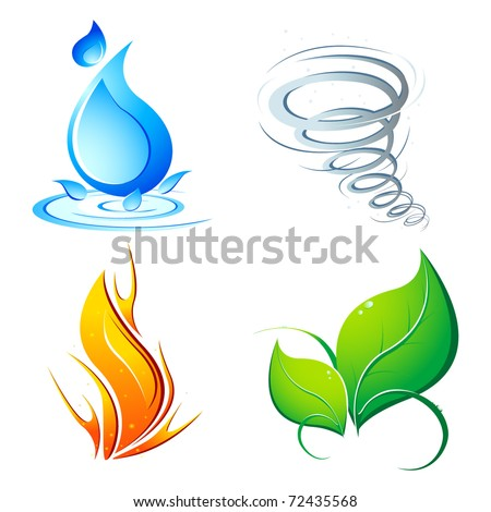 illustration of four element of earth - water,air,fire and nature - stock vector