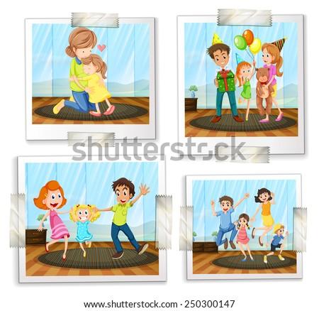 Illustration of four family photos - stock vector