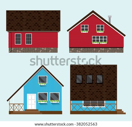 Illustration of four houses. Holiday homes from all sides. On the windows with flower pots. At the blue house has a terrace monochrome background. - stock vector