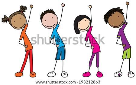 Illustration of four kids exercising - stock vector