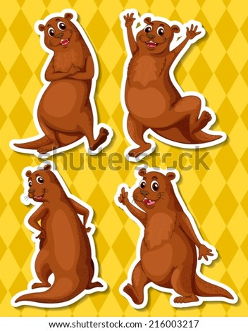 Illustration of four otters with yellow background - stock vector