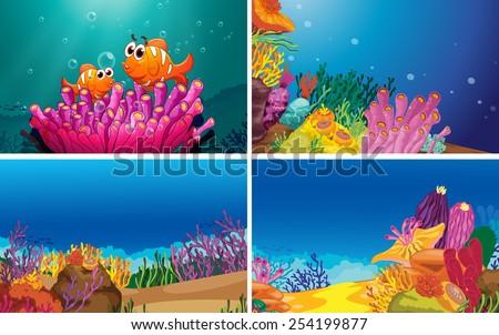 Illustration of four scenes of underwater - stock vector