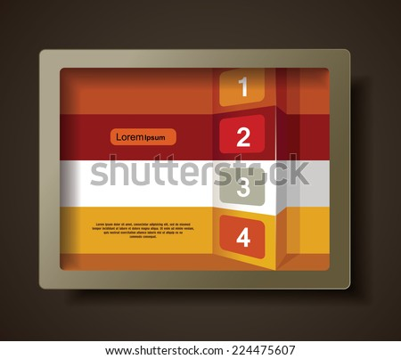 Illustration of frame with geometrical banners. Abstract 3d frames - stock vector