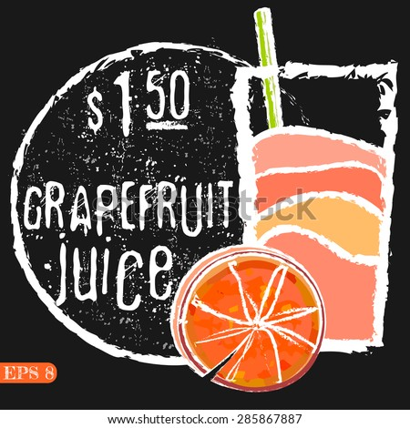 Illustration of fresh grapefruits with juice. Vector collection drinks menu - stock vector
