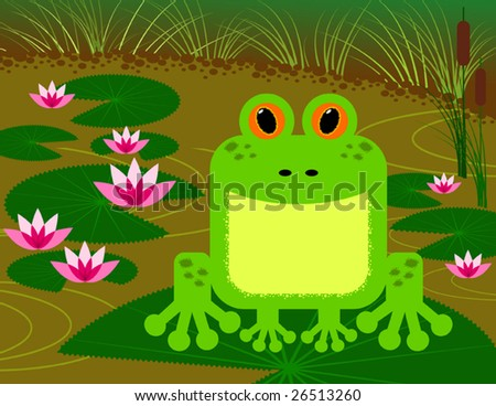 Illustration of frog sitting on water lily, vector - stock vector