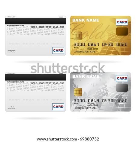 illustration of front and back of credit cards - stock vector