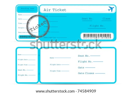 illustration of front and back part of flight ticket - stock vector