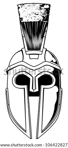 Illustration of front on Spartan helmet or Trojan helmet also called a Corinthian helmet. Versions also used by the Romans. - stock vector