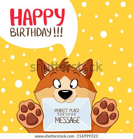 illustration of funny cartoon dog Happy Birthday - stock vector
