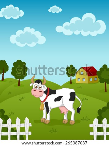 Illustration of funny cow on meadow - stock vector