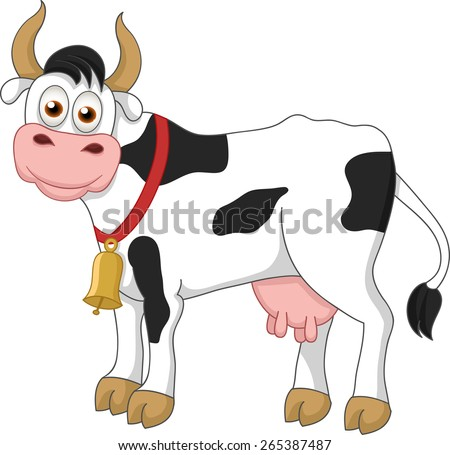 Illustration of funny cow on white background - stock vector