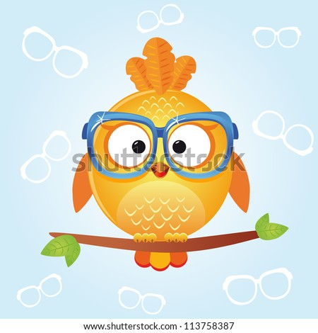 illustration of funny icons birds in stylish glasses - stock vector