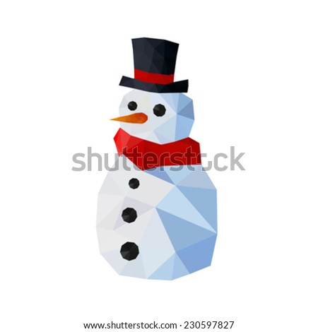 Illustration of funny origami snowman with gentleman hat and red scarf - stock vector