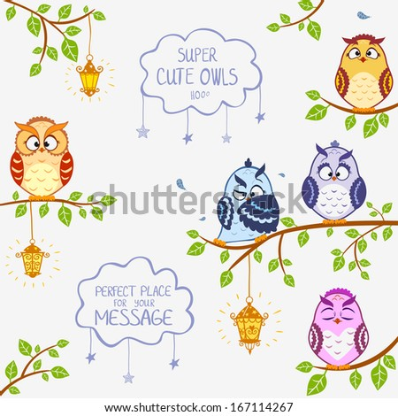 illustration of funny owls sitting on a branch - stock vector