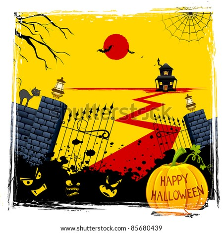 illustration of gate of haunted house with halloween pumpkin - stock vector