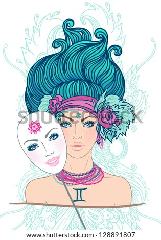 Illustration of gemini zodiac sign as a beautiful girl. Vector. (Young woman with sad expression holding a mask expressing cheerfulness). Isolated on white. - stock vector