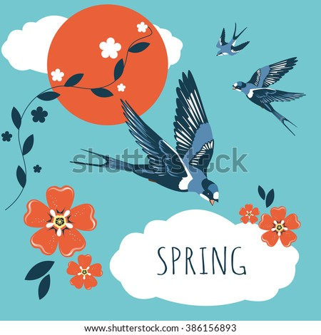 illustration of gift card swallow bird spring - stock vector