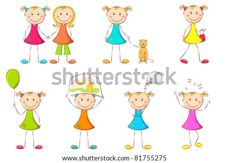 illustration of girl kid doing different activities on white background - stock vector