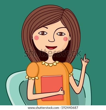 Illustration of girl psychiatrist talking - stock vector