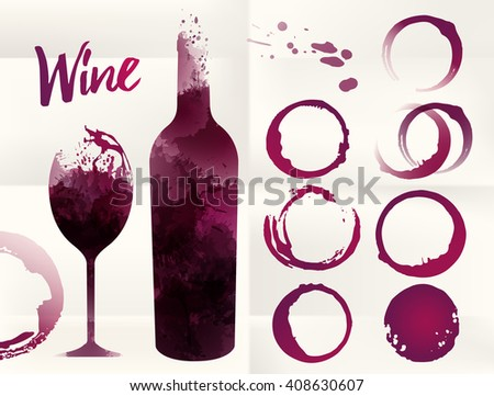 Illustration of glass and bottle wine background with spots. Wine stains set for your designs. Color red wine. Vector - stock vector