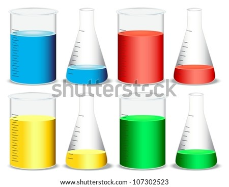 illustration of glass and conical flasks on a white background - stock vector