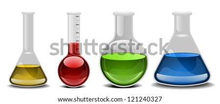 illustration of glass flasks with different liquids - stock vector