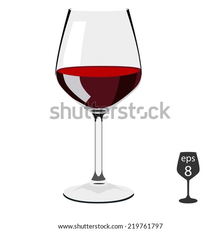 Illustration of glass of wine,  wine, glass, wine glasses, wine glass isolated, red wine glass, wine tasting - stock vector