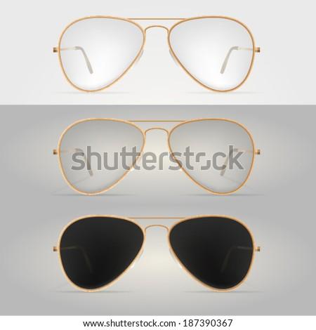 Illustration of glasses. Gold-rimmed sunglasses. - stock vector