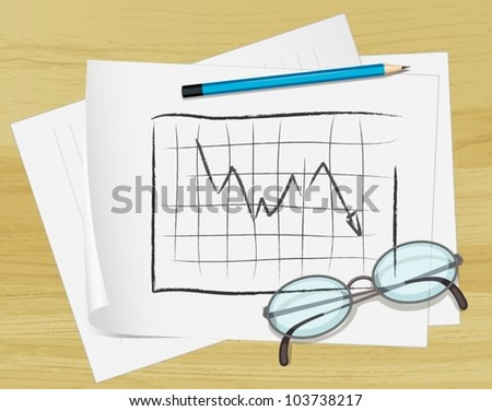 Illustration of glasses, pencil and notes on paper - stock vector