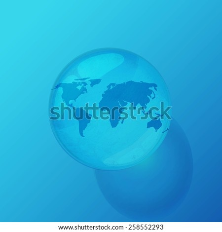 illustration of globe inside water drop on abstract background - stock vector