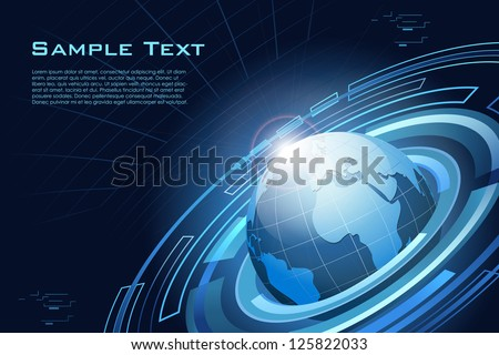 illustration of globe on abstract technological background - stock vector