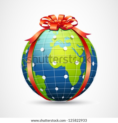 illustration of globe wrapped with ribbon on abstract background - stock vector
