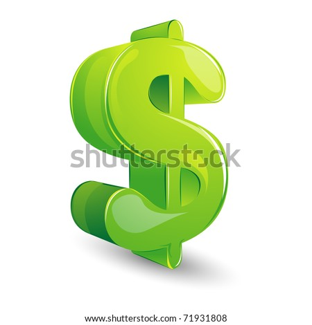 illustration of glossy dollar symbol on isolated white background - stock vector