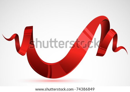 illustration of glossy ribbon laying on floral - stock vector