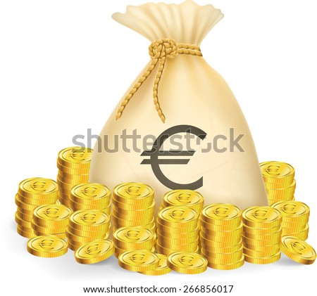 Illustration of gold coin with bag of money - stock vector